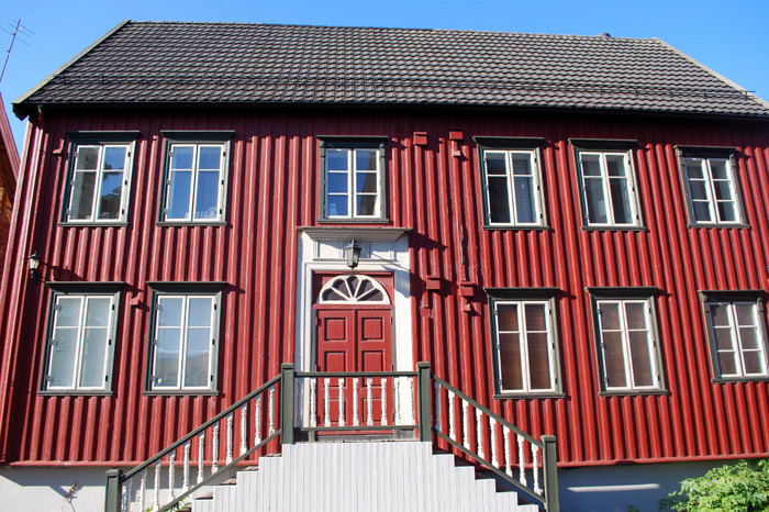 Red neoclassical house